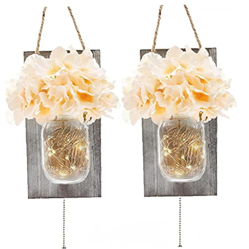 Mason Jar Wall Lights,Rustic Led Fairy String Light Home Decor Vintage Hanging Lantern Wall Sconces with Artificial Flower for Loft Kitchen Living Room