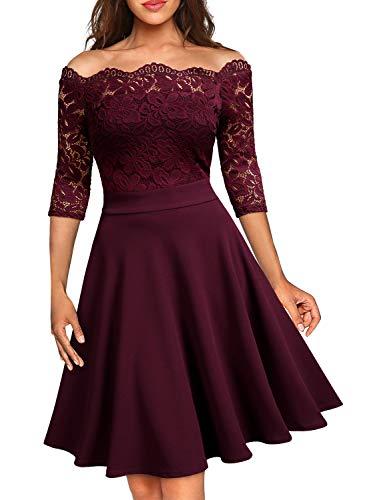 Miusol Elegante Floral Encaje Slim Fiesta Vestido para Mujer Rojo Medium