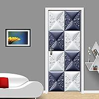 ドアステッカー PVC粘着3D立体救済格子近代シンプルアートリビングルームのベッドルームのドアのホームデコレーションステッカー (Sticker Size : 77x200cm)