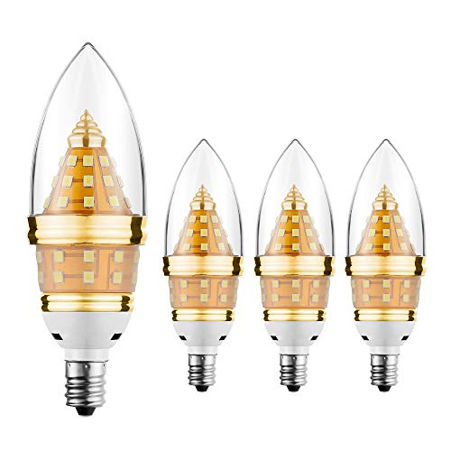 E12 Led Light Bulb,EKSAVE 12W E12 Led Ceiling fan light bulbs,Candelabra Bulb,1200 Lumens LED Candle Bulbs, Warm White,Non-dimmable (3000K,4pcs)