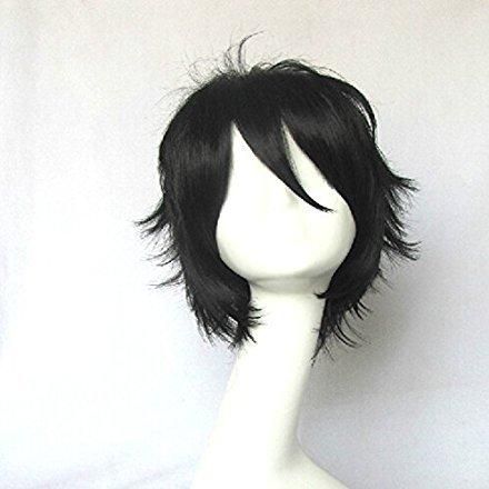 Mobile Suit Gundam 00 Setsuna F Seiei Black 35cm hort Straight Cosplay Party Costume Wig (black)