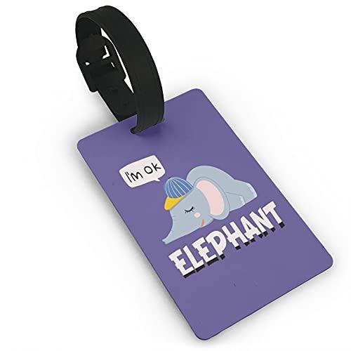 Tvuirw Acostado plana bebé elefante fibra fina pu cuero sintético etiqueta equipaje etiqueta viaje unisex viaje desgaste lindo pequeño equipaje etiqueta