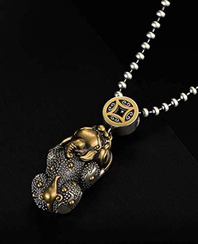 NC122 Collar con Colgante para Hombre S925 Plata Valiente Cadena de joyería Personalizada Regalo de la Suerte para Hijo Novio-Copper_65cm