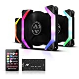 ABKONCORE SP120 RGB Fans, 3 Pack 120mm Computer Fans, Unique Speider-Shape Frame, 5V ARGB Motherboard SYNC/Remote Controller, Ajustable Fan Speed and Color, Hydro Bearing Case Fan with Fan Hub