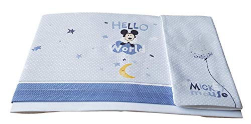 Disney - Juego completo de 3 piezas de sábanas para bebé - Cochecito y cuna de 100% algodón (cuna/carrozina (cochecito), EC0208 Mickey 7026 Cielo)