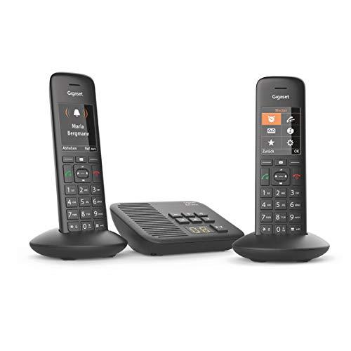 Gigaset C570A Duo 2 schnurlose Telefone mit Anrufbeantworter (Komfort mit großer Nummernanzeige, DECT-Telefone mit Farbdisplay, einfache Bedienung) schwarz