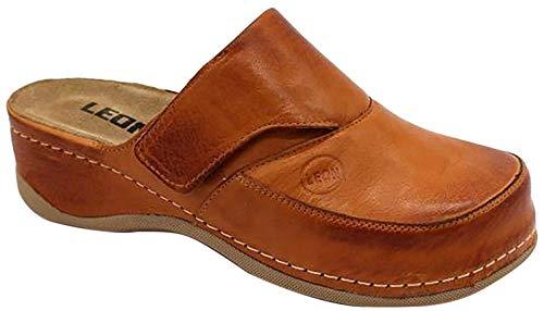 LEON 2019 Zuecos Zapatos Zapatillas de Cuero para Mujer, Marrón, EU 37