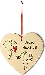Biglietto regalo grazie maestra cuore in legno personalizzabile