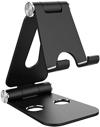 Soporte para tablet, doble plegable, de aluminio, soporte universal para teléfono compatible con iPhone iPad y todos los dispositivos de 4 a 10 pulgadas (negro)