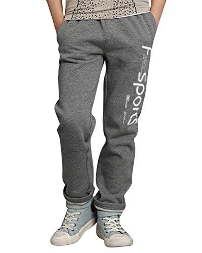 DianShao Pantalones De Deporte Niños Casual Impreso Pantalón Largo De Jogging Negro Gris 150