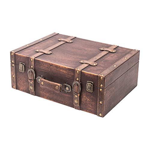 HMF VKO103 Vintage Koffer aus Holz | 44 x 32 x 16 cm | Groß | Deko Klassik