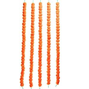 TIED RIBBONS Artificial Indian Marigold Flowers String (Pack of 5) – Flower Garlands for Indian Wedding Party House Warming Home Decoration