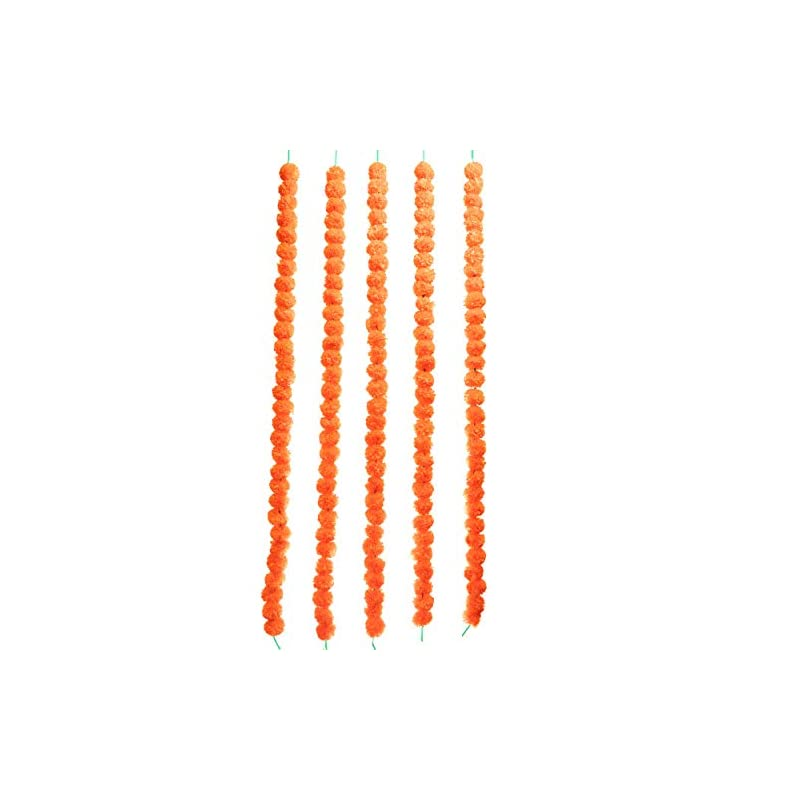 silk flower arrangements tied ribbons artificial indian marigold flowers string (pack of 5) - flower garlands for indian wedding party house warming home decoration