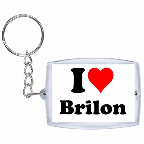 Druckerlebnis24 Schlüsselanhänger I Love Brilon in Weiss - Exclusiver Geschenktipp zu Weihnachten Jahrestag Geburtstag Lieblingsmensch