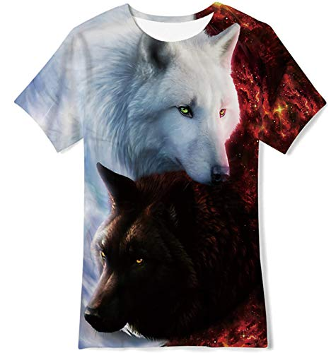 Loveternal Boys Ying Yang Wolf T-Shirts Size 7 Girls 3D Graphic Shirts Kids Summer Quick Dry Cool Tees Short Sleeve Breathable Sport T Shirts Size 6-8 Clothes