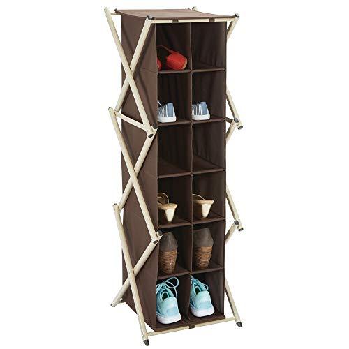 mDesign Scarpiera slim per corridoio, armadio e camera – Porta scarpe in metallo e stoffa – Alta scarpiera armadio con 12 scomparti multiuso – marrone scuro e grigio talpa