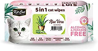 KitCat 5 in 1 Cat Wipes Aloe Vera Scented, 80 Sheets