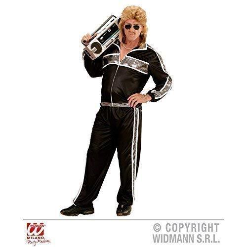 Lively Moments Jogginganzug / Trainingsanzug / Kostüm / Herrenkostüm / Männerkostüm 80er / 80 er Jahre in schwarz - silberfarbend Gr. M / 50
