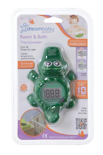 Dreambaby Room and Bath Baby Thermometer Safety Toy- Model L322 - Reliable Temperature Readings - Croc