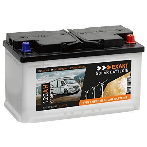 EXAKT Solarbatterie 120Ah 12V Wohnmobil Antrieb Versorgung Boot Mover Photovoltaik Windkraft Batterie (EXS120)