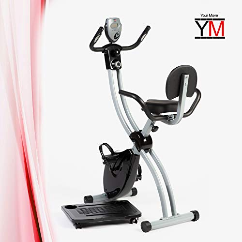 YM - Bicicleta estática de casa plegable, ahorra espacio, X-Bike Cardio Fitness, sillín ajustable en altura, plegable, manillar + apoyabrazos lumbar + reposabrazos reclinables, ruedas