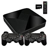 POWKIDDY Console Giochi WiFi Game Box G5 128G con 40000 Giochi + Joystick Wireless 2 pezzi, 1280*720 Full HD Retro Arcade Game Console Giochi WIFI con HDMI/AV, Supporto PS1/N64/GBA(128G)