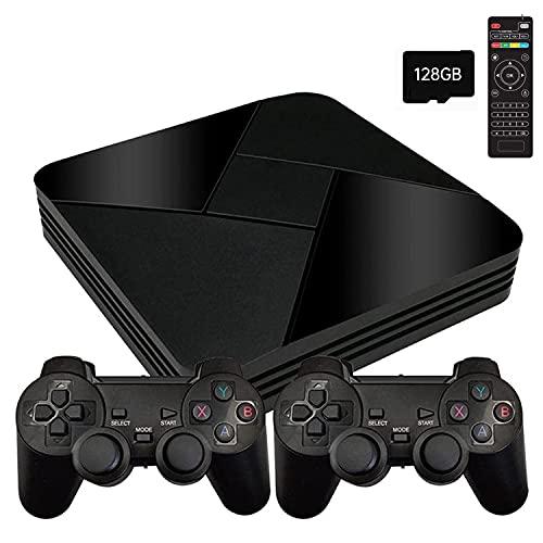 POWKIDDY Retro Konsole WiFi Game Box G5 128G mit 40000 Spiele+2 Bluetooth Gamepads, HD Mini TV Retro Arcade Spielekonsole mit HDMI/AV Kompatibel mit PS1 / N64 / GBA (128GB)Handheld Spielkonsole
