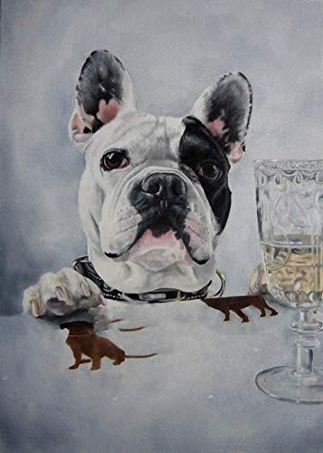Kit De Pintura De Diamante 5D Por Número,Bulldog Francés Beber Cerveza Taladro Completo,Punto De Cruz,Bordado De Diamantes De Imitación,Manualidades Para Decoración De Pared 30×40cm