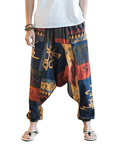 ZIXINGA Unisex Harén Aladdin Hippy Pantalones Baggy Hippie Boho Yoga Wideleg Pantalones para Hombres