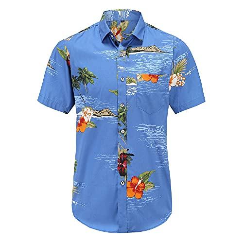 Shirt Hawaiana Hombre Verano con Botones Ajustados Tapeta Manga Corta Hombre Camisa Casual Bolsillos Estampado...