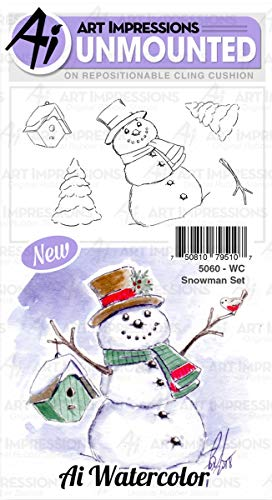 Art Impressions Watercolor Cling Rubber Stamps-Snowman