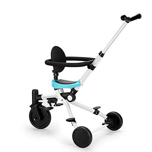 WENJIE Triciclo de niños Triciclo de niños Diseño de Cochecito de bebé for Plegado Abierto Triciclo de Viaje Triciclo de avión for niños de 2 a 6 años 3 Colores (Color : Blue)