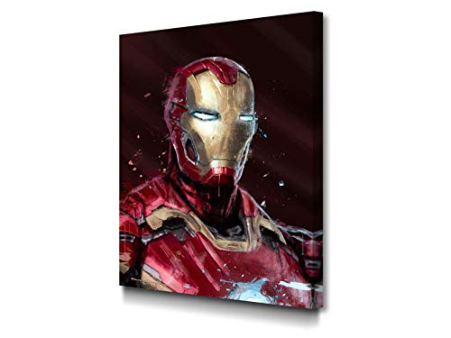Foto Canvas Impression sur Toile Iron Man 30 x 40 cm Tableau Decoration Murale | Decoration Chambre - Decoration Salon - Decoration Maison | Cadre en Bois Épais