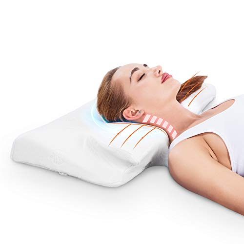 MARNUR Contour Memory Foam Pillow Orthopedic Pillows 23.514.55.5 Inch for Neck Pain Ergonomic Pillow with RoHS Certification and Pillowcase Covers, White