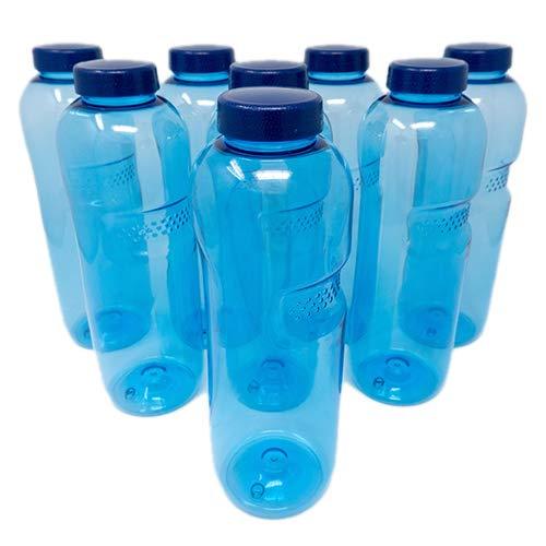 SAXONICA Trinkflasche aus Tritan 8 x 1 Liter ohne Weichmacher BPA frei (Bisphenol A frei) für Wasser, Milch oder Saft