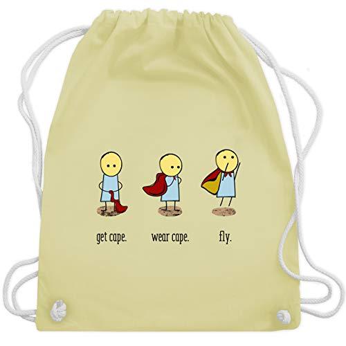 Comic Shirts - Get cape. Wear cape. Fly. - Unisize - Pastell Gelb - WM110 - Turnbeutel und Stoffbeutel aus Bio-Baumwolle