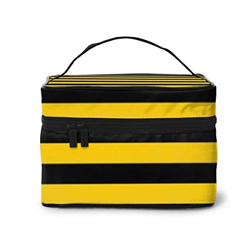 Vanity et Trousses à Maquillage Yellow and Black Stripe Travel Cosmetic Case Organizer Portable Artist Storage Bag with,Built-in Pocket,Multifunction