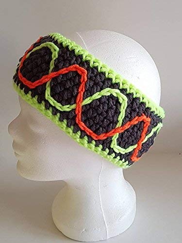 Handmade by Lara's Creations - Stirnband Anthrazit mit Neon-Wellen Gr. M