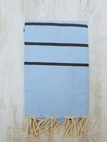 Miktex Toalla Fouta Ibiza, XL 100 x 200 cm, 100% algodón, 380 g Suave, Flexible, Absorbente y Ligera. Toalla de Playa, Mantel, sofá, Colcha, paréo, Picnic (Brisa Azul, Negra)