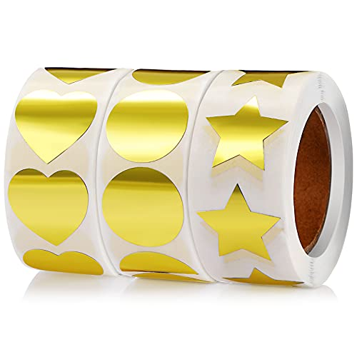 3 Rolls 1 Inch Gold Round Star Heart Shape Sticker Labels, Removable Adhesive Labels Stickers for Sealing Edge of Package, Envelope, Box, Bag, 500 Pieces Per Roll