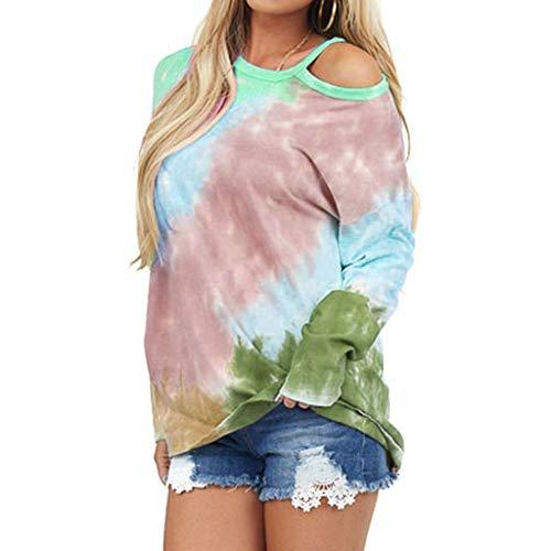 Meikosks Womens Off Shoulder Long Sleeve Pullover Fashion Tie-Dye Printed T Shirt Casual Tops Khaki