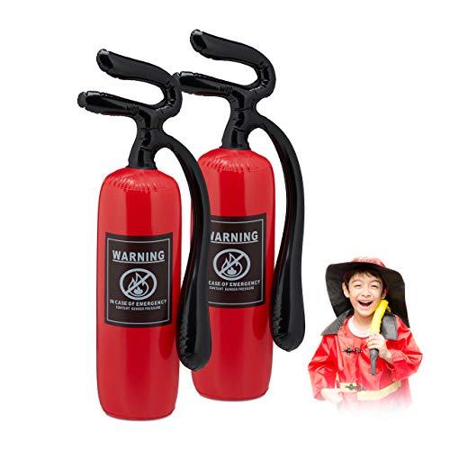 Relaxdays Extintor Inflable, Set de 2, Disfraz Bombero Niños, Juguete Hinchable, Accesorio Disfraces, PVC, Rojo