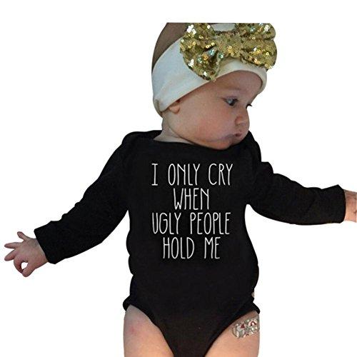LMMVP Bébé Ensemble de Vêtements, 2pcs Infantile Bébé Fille Garçon Manche Longue Barboteuse Tops + Bandeau Vêtements Ensemble (100(12-18M), Noir)