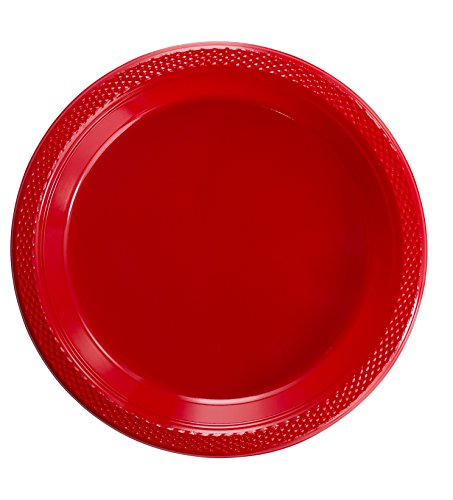 Exquisite 7 Inch. Red Plastic Dessert/Salad Plates - Solid Color Disposable Plates - 100 Count