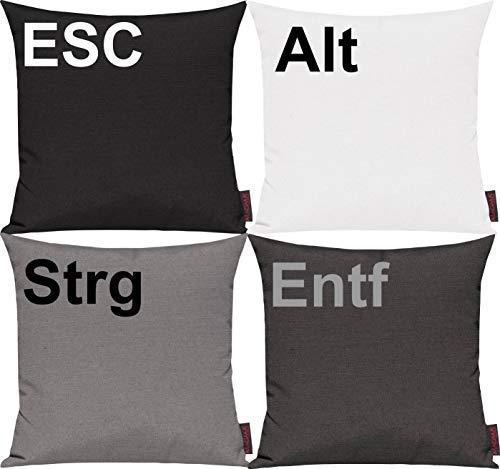 Pillowcase cover Set 4 Piece for Select! Sofa cushion Motif ESC, ALT, CTRL and DELETE - Grey, 40x40cm