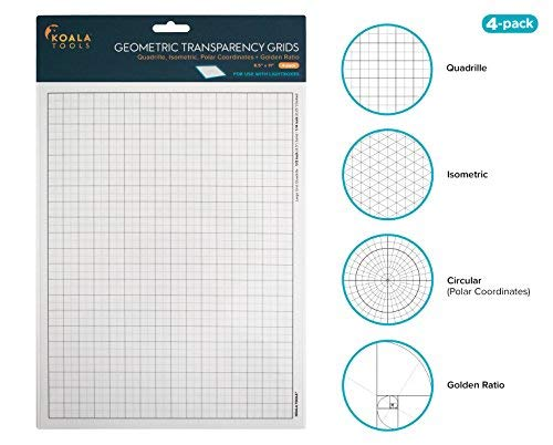 Koala Tools | Geometric Grid Transparency Sheets (Variety Pack of 4) - 8.5' x 11' | Overhead Projector and Light Box Transparencies - Tracing Film for Sketching & Drawing