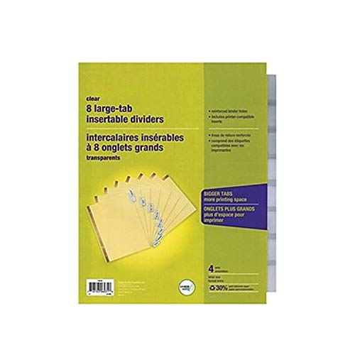 MyOfficeInnovations 431424 Big Tab Blank Paper Dividers, 8-Tab, Clear, 4/PK