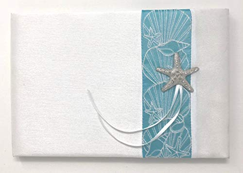 Beach theme wedding guestbook with turquoise accent ribbon, Starfish emblem and white ribbons. Perfect for beach weddings or ocean, starfish themed weddings. Matching ring bearer pillow also available
