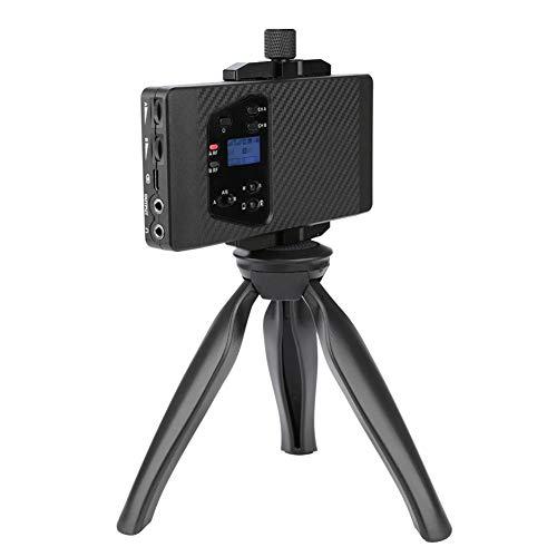 VBESTLIFE Universele telefooncamera Lavalier-microfoon, UHF Professional Wireless, stereo/mono-modus, filtergeluid, 60 m zendbereik met LCD-ondersteuning voor real-time opnamebewaking