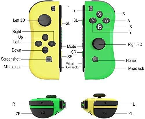 HK Wireless Switch Controller para Nintendo inalámbrica Bluetooth Gamepad, Palanca de Mando con Seis Ejes, Gyro Met Doub Choque de Repuesto para la alegría Meet Controlador